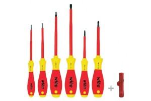 Набор отверток Wiha SoftFinish electric + нож для снятия внешней оболочки кабелей, 7 пр. 36387